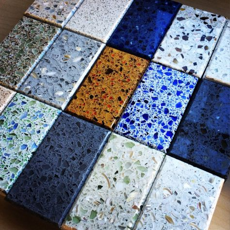 We just got our amazing samples from of their recycled glass in concrete collection. Nicely done Ice Stone!