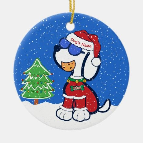 Custom Cute Funny Christmas Santa Cookie Dog Ceramic Ornament Tags Dog Pet Gift Dog Christmas Ornaments Dog Lovers Christmas Cartoon Dog