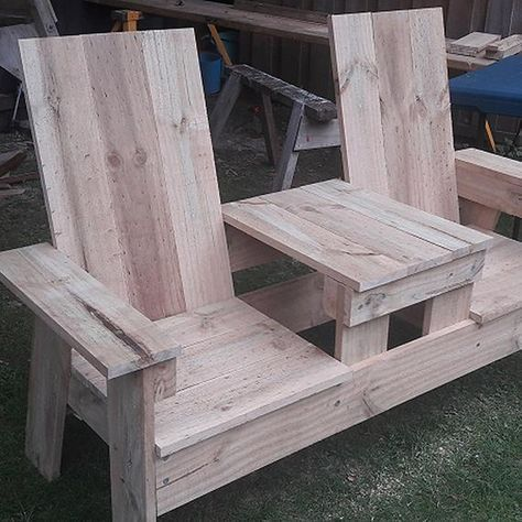 Plans For A Two Seater Bench With Built In Table Made Of 1 6