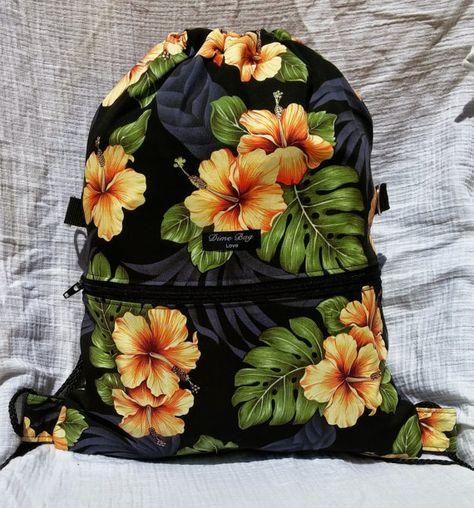 tropischen hawaiianischen print Kordelzug Rucksack