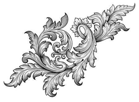 Vintage Baroque Frame Leaf Scroll Floral Ornament Engraving Border Baroque Frames Baroque Tattoo Baroque