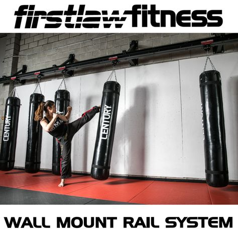 Another Shot Of Our Wall Mount Rail System This Is 24 Of The Strongest Wall Mounted Heavy Bag System On The Market Ro Heavy Bag Mount Heavy Bags Bag Hanger