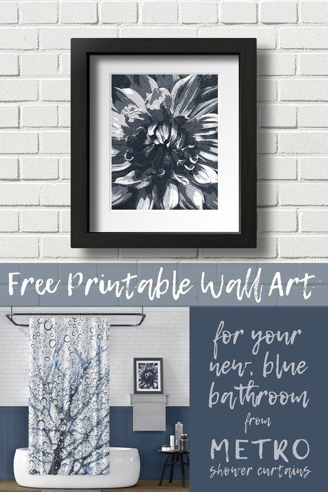 Monochromatic Bathroom Design Slate Blue With Free Printable Wall Art Bathroom Wall Art Printables Wall Decor Printables Free Printable Wall Art