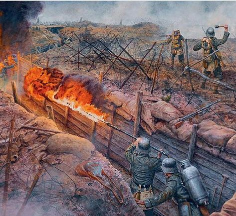 German attack with flamethrowers and grenades