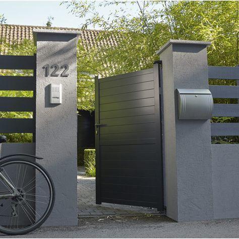 Portillon Battant En Aluminium Gris Anthracite Jena 100x170cm Leroy Merlin More Portillon Jardin Entree De Maison Exterieur Cloture Maison