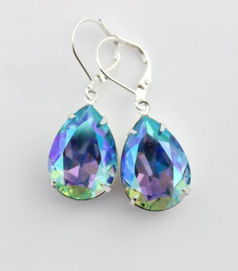 Aqua Earrings Swarovski Ab Wedding Glacier Blue Aurora Borealis Aquamarine Earring Ice