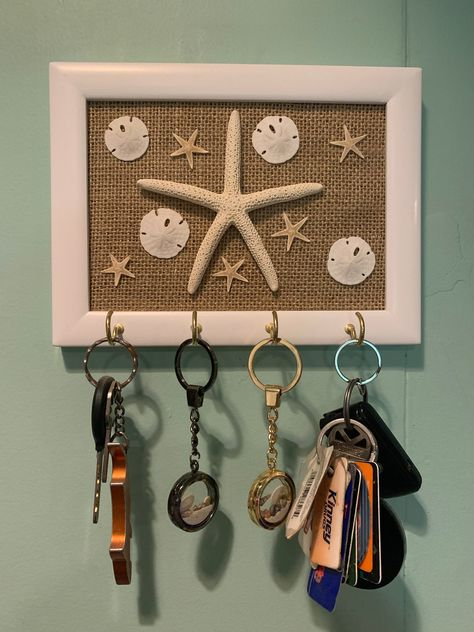 Excited to share this item from my #etsy shop: Key hanger, key chain hanger, beach frame, starfish, sand dollars, beach key Chain hanger, wall decor, #wallhanger #starfishkeychain #oceankeychain #starfishframe #beachframe #keychainframe #keychainholder #sanddollars #hooks
