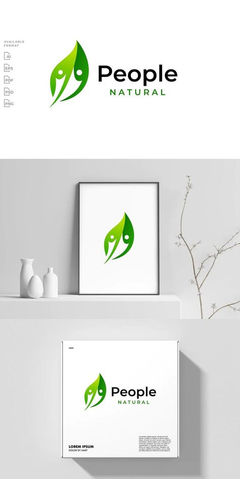 Leaf People Human Logo Template AI, EPS, PSD