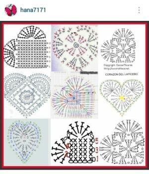 Instagram @hana7171 - crochet hearts pattern diagrams by rosanne