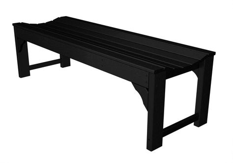 Surprising Polywood Bab160Bl Traditional Garden 60 Backless Bench In Pdpeps Interior Chair Design Pdpepsorg