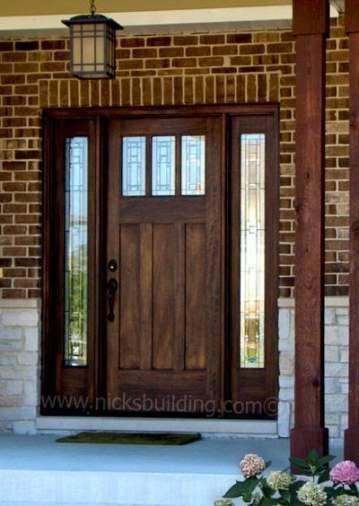 Wood Front Door Colors With Red Brick 61 Ideas Wood Door Craftsman Style Homes Glass Front Door Wood Front Doors