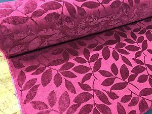 Designer Heavyweight /'Henley/' Leaf Chenille Velvet Curtain Fabric Upholstery