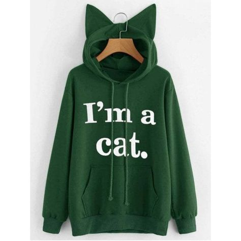 Womens Cat Letter Printed Graphic Funny Top Shirts Sweatshirt with Pocket