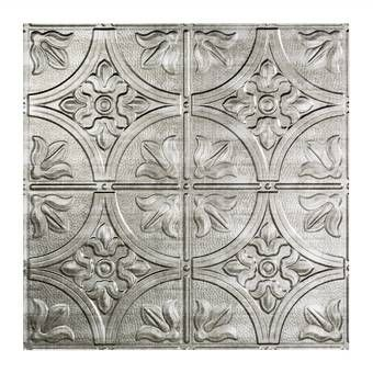 Fasade Traditional 1 2 Ft X 2 Ft Lay In Ceiling Tile In Galvanized Steel Wayfair Ceiling Tiles Ceiling Tile Embossed Ceiling Tiles