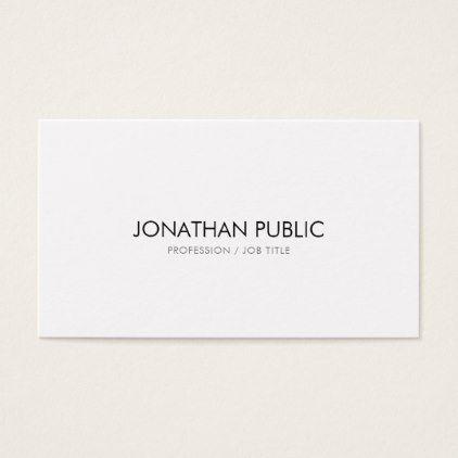 Creative Simple Design Modern Elegant Plain White Business Card Zazzle Com White Business Card Simple Designs Business Cards Creative