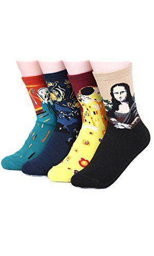 Men/'s Famous Painting Novelty Casual Crew Socks