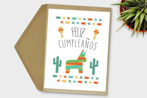 Feliz Cumpleanos Card Spanish Birthday Fiesta Mexican Printable