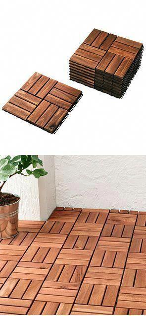 Runnen Decking Outdoor Brown Stained 9 Sq Feet Patio Flooring