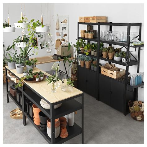 IKEA - BROR Work bench, black/pine plywood