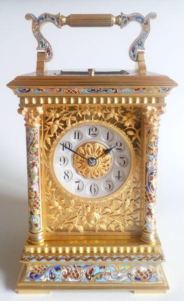 Champleve Enamel Repeating Carriage Repeat Retro Clock Antique Clocks Carriage Clocks