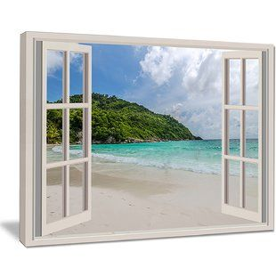 Designart Open Window To Ocean Islets Graphic Art On Wrapped Canvas Wayfair Framed Canvas Art Open Window Canvas Frame