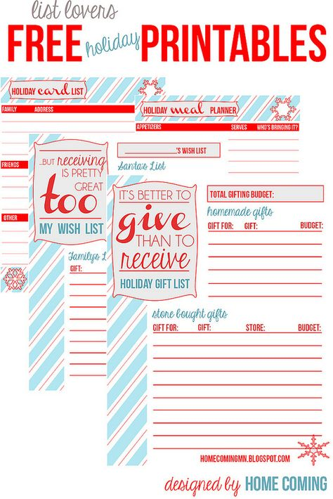 Free Printables: Holiday Planning and Lists