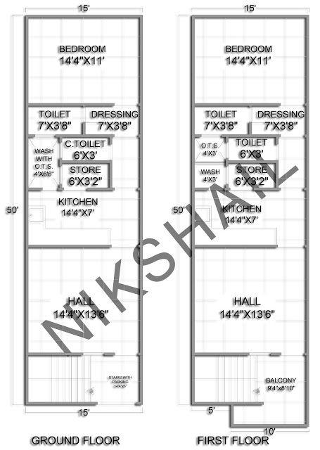 15x50 House plan with 3d elevation by nikshail | kumar kvn