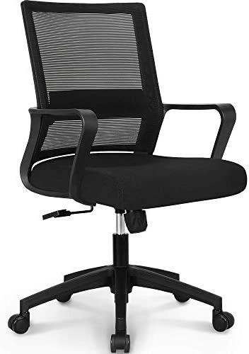 Adjustable Office Chair Executive Swivel Fabric Mesh Chair Desk Chair  White