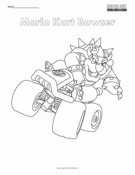 Mario Kart Coloring Page Unique Mario Kart Bowser Nintendo Coloring In 2020 Mario Coloring Pages Coloring Pages Minion Coloring Pages