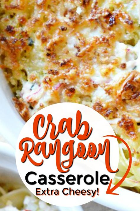 40 minutes · Serves 12 · This easy, crab rangoon casserole is incredibly cheesy and packed with crab and all the flavors that crab rangoon fans love! Best Seafood Recipes, Fish Recipes, Asian Recipes, New Recipes, Cooking Recipes, Favorite Recipes, Canned Crab Recipes, Crab Pasta Recipes, Bread Recipes