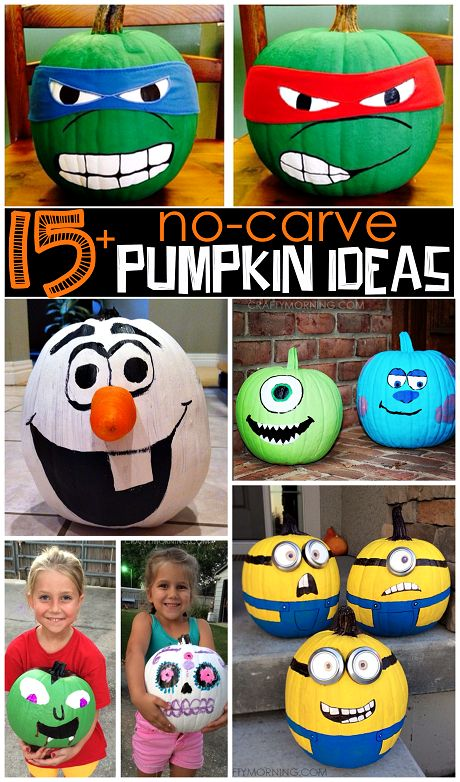 Clever No Carve/Painted Pumpkin Ideas for Kids on Halloween - Crafty Morning Here are some no-carve pumpkin ideas that kids will love! Instead of making a big mess, just get out your paints to decorate this Halloween! Minion Pumpkin, Scary Pumpkin, Pumpkin Art, Cute Pumpkin, Baby In Pumpkin, Pumpkin Crafts, Fun Pumpkin Ideas, Ninja Turtle Pumpkin, Minion Banana