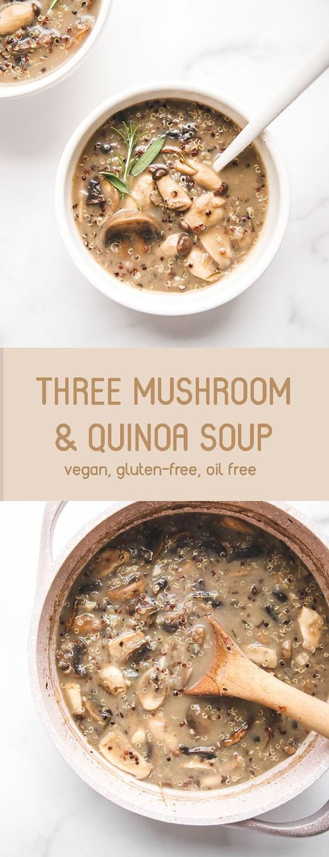 A hearty, high protein Wild Mushroom & Quinoa Soup. This soup is packed with umami flavour and takes less than 30 minutes to make. Makes for excellent leftovers and is great for meal prep too! Vegan, gluten free, oil free. | veggiekinsblog.com | #vegan #glutenfree #oilfree #mealprep #soup #healthy #quinoa #highprotein #plantbased #dinner #onepot