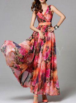 915967c0896 Buy Charming Top Quality Flower Printing Empire Long Beach Maxi Dress  Online