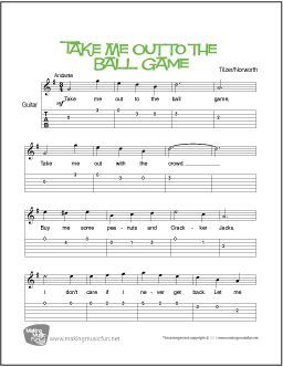 Print Take Me Out To The Ball Game Beginner Guitar Sheet Music With Notation And Tab In 2020 Guitar Lessons For Beginners Guitar Sheet Music Guitar For Beginners