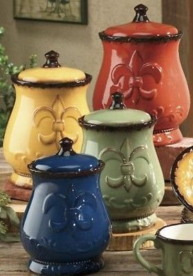 Tuscany Colorful Hand Painted Fleur De Lis Canisters Kitchen Decor New Free Ship Italian Kitchen Decor Kitchen Decor Themes Tuscan Decorating Kitchen