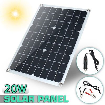 20W Outdoor Solar Panel 12V 5V Battery Charger For RV Boat Car Camping Hot