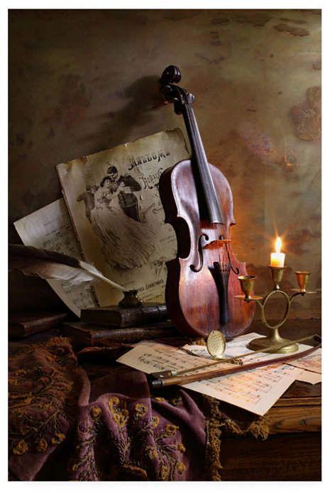 Trademark Global Andrey Morozov Still Life with Violin Canvas Art - 15  x 20