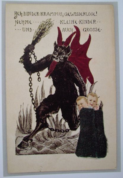 krampus tree   On these picture postcards KRAMPUS is shown as a chain-rattling, hairy ...
