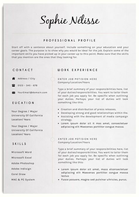 Resume Template Elegant Resume Template For Word Cv Etsy In 2020 Resume Template Professional Good Resume Examples Job Resume
