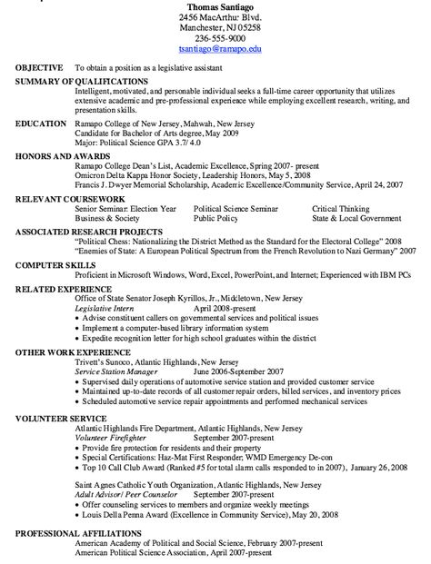 Sample Of Legislative Assistant Resume - http://resumesdesign.com .