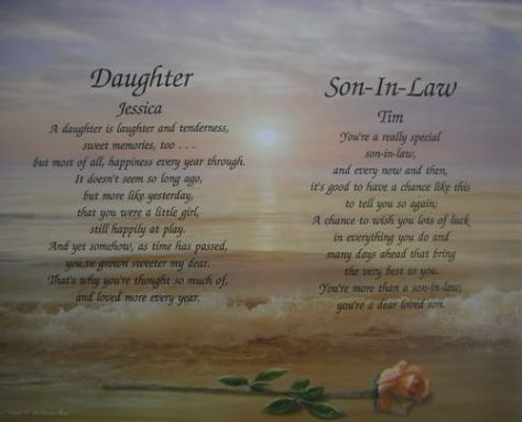 Daughter Son In Law Personalized Son Poems Son In Law My Son Quotes