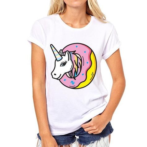 New 2016 casual t shirt women donut unicorn printed short sleeve o-neck harajuku t shirts