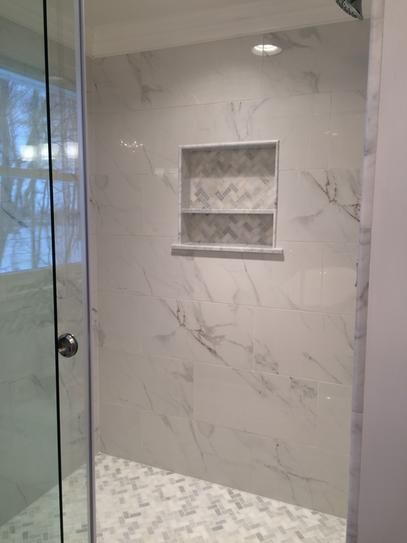 Another shower floor tile option - MSI Greecian White Herringbone Pattern 12 in. x 12 in. x 10 mm Polished Marble Mesh-Mounted Mosaic Tile (10 sq. ft. / case)-SMOT-GRE-HBP - The Home Depot