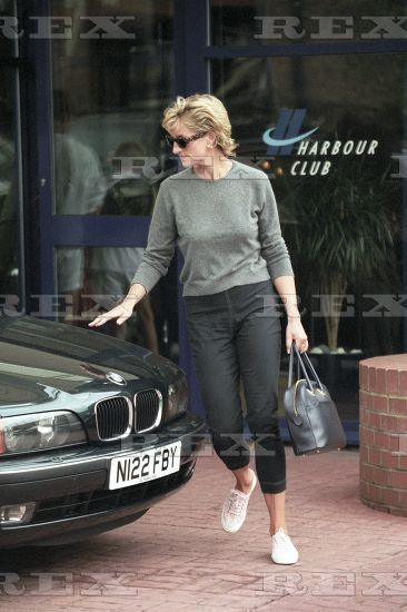 Various Princess Diana leaves the Chelsea Harbour Club wearing dagger motive jeans, London, Britain 3 Sep 1996