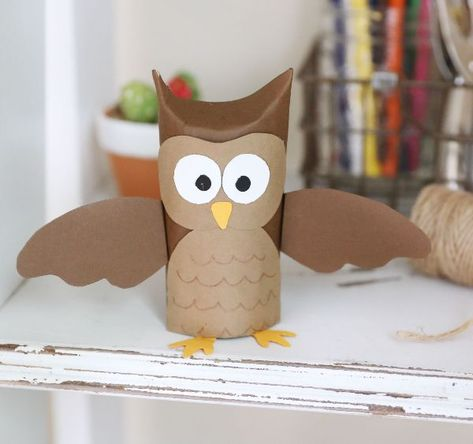 How to make an owl with a toilet paper tube - DIY EverywhereHow to make an owl with a toilet paper tube - DIY EverywhereFALL Pumpkin Using a Paper Towel Roll or Toilet Paper Roll Animal Crafts For Kids, Toddler Crafts, Preschool Crafts, Diy For Kids, Paper Towel Roll Crafts, Toilet Paper Roll Crafts, Cardboard Crafts, Toilet Paper Tubes, Cardboard Playhouse