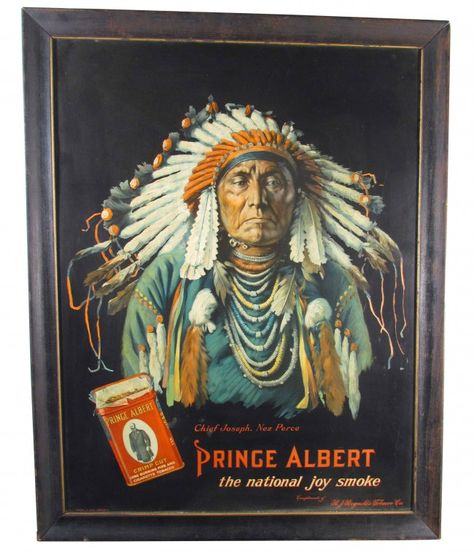 Prince Albert Tin Sign Native American Motif on LiveAuctioneers