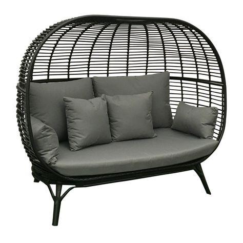 Garden Rattan Sofa Patio Outdoor Black Grey Aluminium Frame Cushion Seat Chair Garden Sofa Pool Patio Furniture Hanging Chair Outdoor