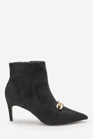 Black Forever Comfort Chain Detail Ankle Boots Ankle Boots Black Ankle Boots Boots