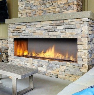 60 Outdoor Linear Gas Fireplace In 2020 Outdoor Gas Fireplace