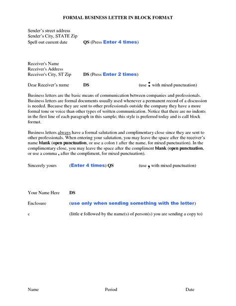 Formal Block Letter Format Business Place Date Below Letterhead